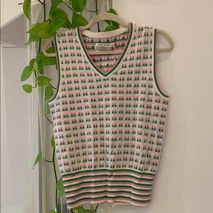Tory Sport Green & Pink Sweater Vest 🍉